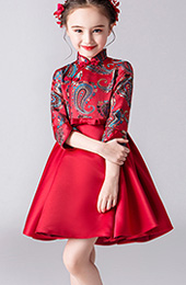 Red Woven A-Line Girl Qipao / Cheongsam Dress