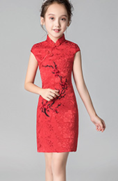 Red Embroidered Floral Kids Girl's Cheongsam / Qipao Dress