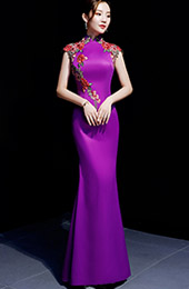 Purple Floor Length Mermaid  Qipao /Cheongsam Graduation Dress