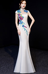 White Floral Floor-Length Qipao / Cheongsam Graduation Dress