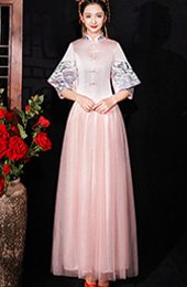 Pink Shimmering Bridesmaid Wedding Qun Kwa & Tulle Skirt
