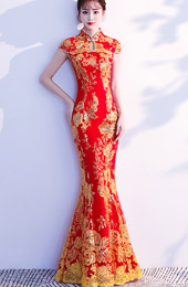 Red Sequined Fishtail Qipao / Cheongsam Wedding Dress