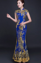 Blue Sequined Fishtail Qipao / Cheongsam Evening Dress
