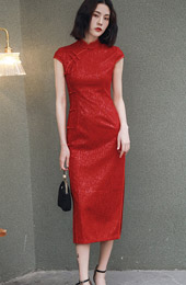 Red Long Split Qipao / Cheongsam Wedding Dress