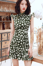 Olive Green Frill Hem Qipao / Cheongsam Graduation Dress