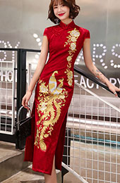 Red Embroidered Phoenix Long Qipao / Cheongsam Wedding Dress