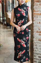 Sleeveless Printed Crane Bird Long Qipao / Cheongsam Party Dress