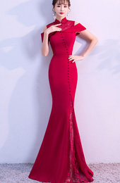 Wine Red Cold Shoulder Mermaid Qipao / Cheongsam Wedding Dress
