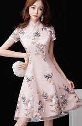 Pink Bridesmaid Floral Short Qipao / Cheongsam Dress