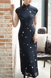 2019 Galaxy Print Chiffon Long Qipao / Cheongsam Dress