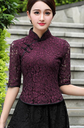 Purple Lace Qipao / Cheongsam Blouse Top
