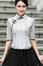 White Lace Qipao / Cheongsam Blouse Top