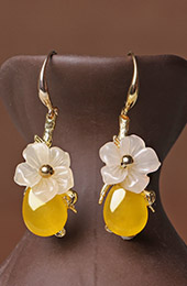 Yellow Jade Dangle Earrings, Clip On Pierced Earrings