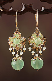 Green Jade Dangle Earrings, Clip On Pierced Earrings