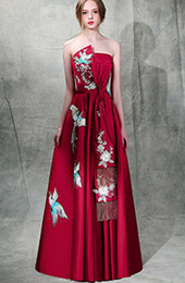 Burgundy Embroidered Maxi Strapless A-Line Evening Dress