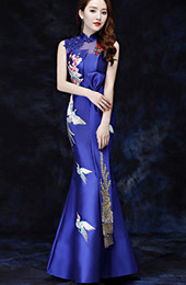 Blue Embroidered Fishtail Qipao / Cheongsam Evening Dress with Cutout Back