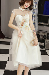 A-Line Illusion Tulle Qipao / Cheongsam Wedding Dress