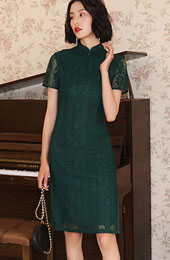 Mother's Green Lace Qipao / Cheongsam Dress