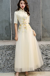 A-Line Embroidered Belt Prom Qipao / Cheongsam Evening Dress