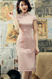 Pink Embroidered Mid Qipao / Cheongsam Dress with Lace Trim