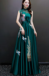 Green Embroidered Floor Length Qipao / Cheongsam Evening Dress