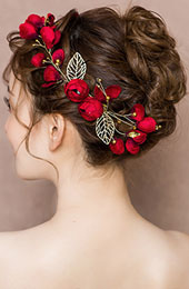 Red Blossom & Gold Tone Butterfly Bridal Hair Vine