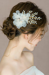 Miss You Pearl White Flowers Hair Pins
