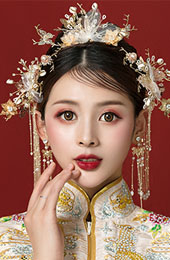 Gold Tone Traditional Chinese Bridal Chain Hair Vine
