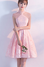 Pink Short Bridesmaids Tulle Qipao / Cheongsam Dress