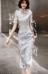 Gray Lace Tea-Length Qipao / Cheongsam Evening Dress