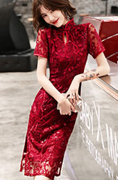 Wine Red Sequins Floral Qipao / Cheongsam Wedding Dress