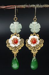 Green Jade Glaze Dangle Earrings, Clip On Pierced Earrings