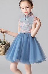 Blue Flower Girl's Embroidered Tulle Cheongsam / Qipao Dress