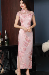 Pink Embroidered Overlay Long Qipao / Cheongsam Wedding Dress