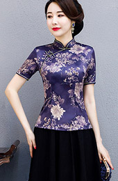 Purple Floral Qipao / Cheongsam Blouse Top