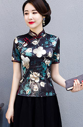 Black Floral Qipao / Cheongsam Blouse Top