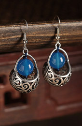 Blue Agate Dangle Earrings, Clip On Pierced Earrings