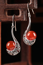 Red Agate Alloy Dangle Earrings, Pierced Earrings