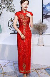 Red Sequined Long Qipao / Cheongsam Wedding Dress