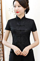 Black Short Sleeve Qipao / Cheongsam Blouse Top