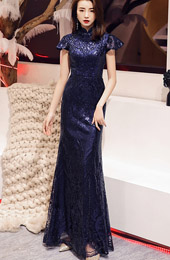 Royal Blue Sequined Fishtail Qipao / Cheongsam Evening Dress