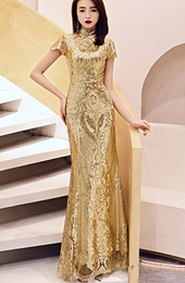 Golden Sequined Mermaid Qipao / Cheongsam Evening Dress