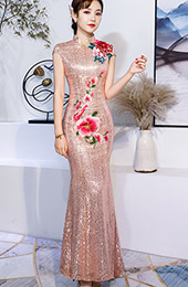 Pink Sequined Embroidered Mermaid Qipao / Cheongsam Wedding Dress