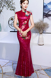 Red Sequined Embroidered Mermaid Qipao / Wedding Cheongsam Dress