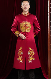 Wine Red Embroidered Dragon Chinese Men's Wedding Magua Jacket