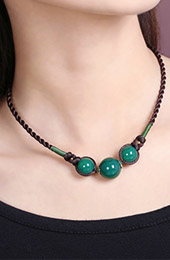 Handmade Green Agate Beads String Necklaces