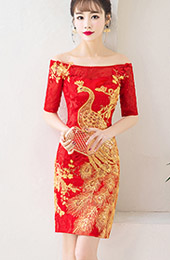 Off-Shoulder Phoenix Short Wedding Qipao / Cheongsam Dress