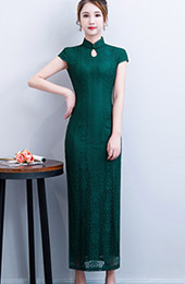 Green Lace Long Qipao / Cheongsam Party Dress