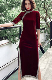Wine Red Purple Velour Tea-Length Qipao / Cheongsam Dress
