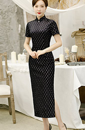 Black Shimmering Grid Velvet Long Qipao / Cheongsam Dress